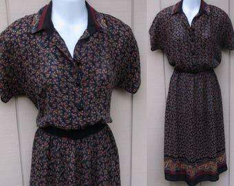 Vintage 70s  Silk Floral Blouson Dress / Secretary Dress / Sml - Med