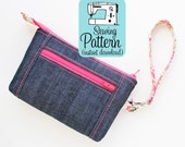 Improv Zip Wristlet PDF Sewing Pattern |  Sew a zip top wristlet for phones, small journals, or make a custom size (instructions included).