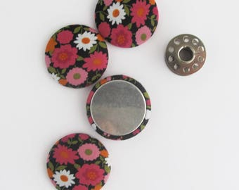 32mm Flat Back Fabric Cabochon | Four 1.25 inch button tops with a flat back to use for textile jewelry, magnets, attaching to a base/bezel.