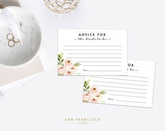 Advice for the Bride Cards, Bridal Shower Insert - pink, floral, 4''x6'', Tiffany Collection, Printable  - INSTANT DOWNLOAD PDF File