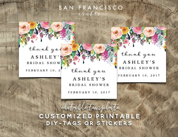 Free Printable Wedding Gift Tags: Bridal Shower Gift Tag PDF Template Editable PRINTABLE
