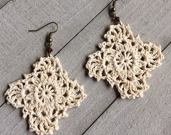 Gypsy Lace Crochet Earrings Handmade Lace in Ivory Boho Chic Crocheted Dangle Earrings Bridesmaid Wedding Gift for Her