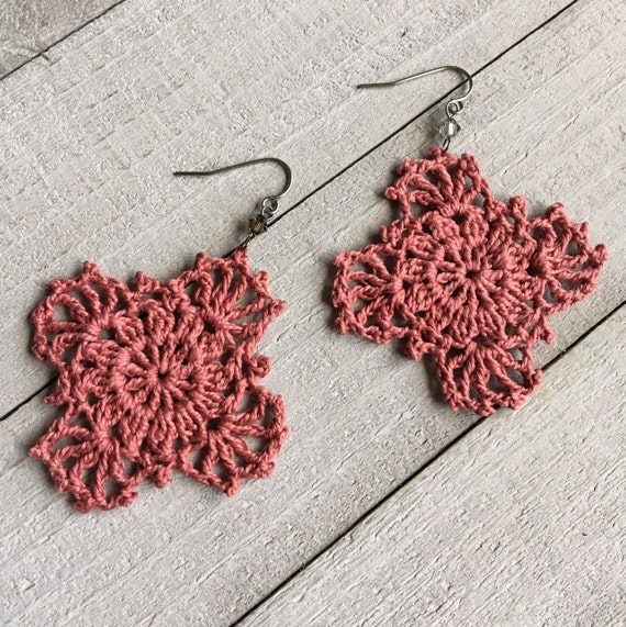 Gypsy Lace Crochet Earrings Handmade Lace in Blush Pink//Boho Chic Crocheted Dangle Earrings Bridesmaid Wedding Gift for Her