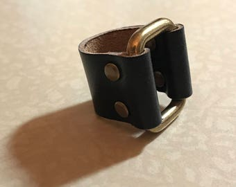 Black Leather Buckle Ring Size 9 1/2 - ALL PROFITS donated to the ACLU