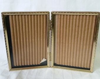 "Bi-Fold Photo Frame 3.5"" x 5"" 3.5x5 Goldtone Gold Hinged Picture Frame"
