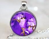 Iris Art Pendant, Iris Botanical Pendant, Flower Necklace, Iris Jewelry, Purple Iris Pendant, Bronze, Silver, Purple Flowers Pendant 254