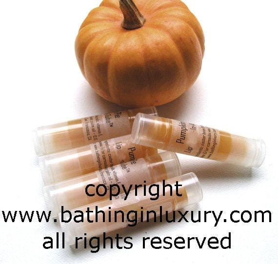PUMPKIN PIE Lip Balm - Vegan Pumpkin - See listing for multiple tube discount and other lip balm flavors including lip balm for men
