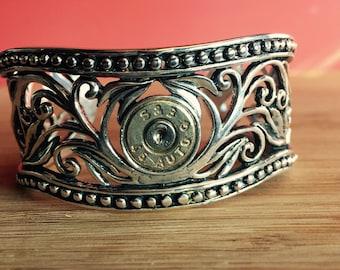 Sterling Silver Western Style Filigree Cuff Bracelet with 45 Auto, Sterling Cuff Bracelet, Bullet Cuff Bracelet