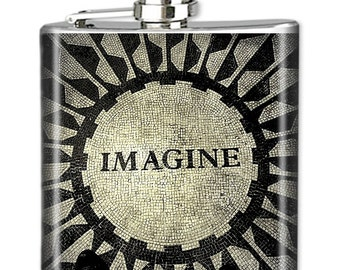 NYC Flask, Photo Flask, Art Flask, Liquor Flask, HIp Flask - Handmade - IMAGINE MOSAIC - Sealed in Resin - 4 sizes