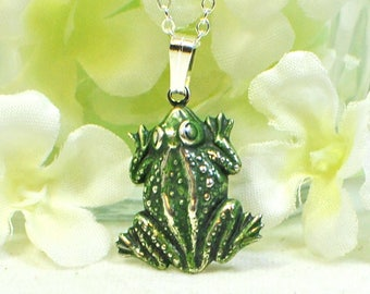Frog Pendant Frogger - Frog Jewelry - Green Frog Necklace -Animal Jewelry -Woodland Animal -Gift for Her -Nature Gift -Amphibian - Cute Frog