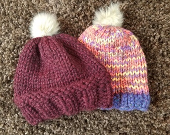 Chunky-Knit Winter Hat - Deep Burgundy with Adorable Beige Pom-Pom