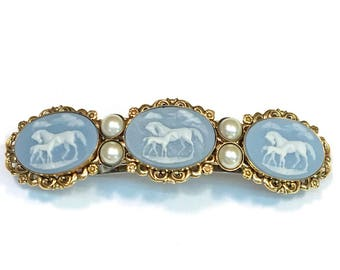 Mare and Foal Arabian Horse Cameo Barrette
