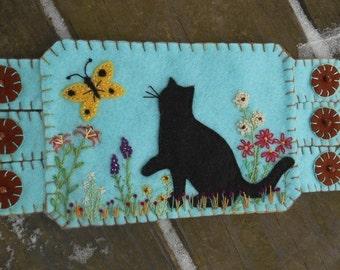 Kitty Fiber Art, Garden Art, Butterfly Art,  Flower Embroidery, Summer Wildflowers Coffee Coaster, Mug Rug