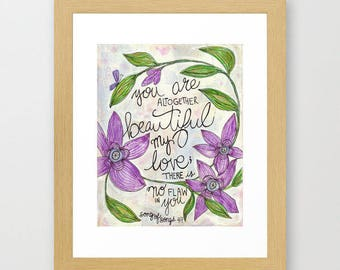flower art, quote, altogether beautiful, faith, religious art, bible, song of songs, 4:7, flower, nature, butterfly, painting, 11x14, lily