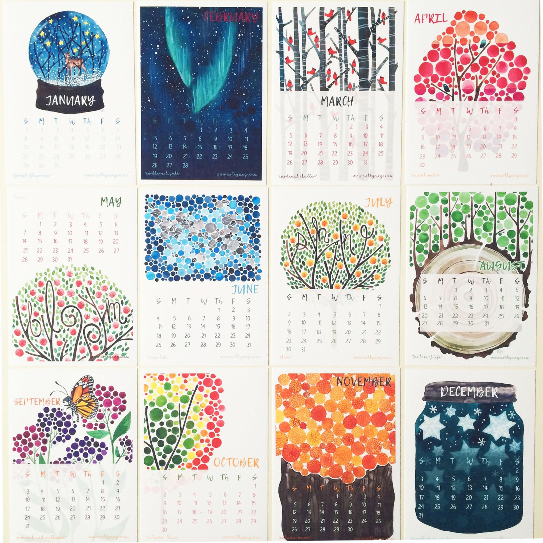 2017 12 Month  Calendar Watercolour Trees Desk or Wall Calendar With Mini Art Easel Stand Office Art Desk Artwork