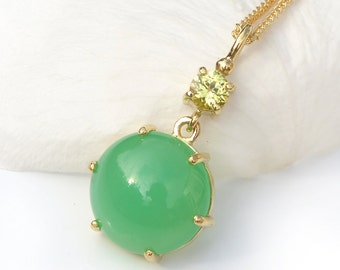 Chrysoprase and Yellow Sapphire Pendant in 18ct Gold