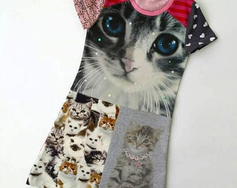 Size 5 upcycled girls cat dress, girls clothing, kitten ,kidsclothes, kidswear, girl, pussycat, girls dress, upcycling, cats