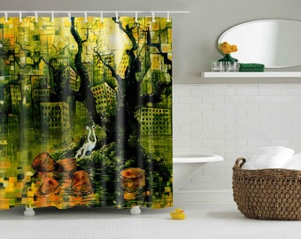 RW2 Swan Lake Environmental Art Shower Curtain by Robert Walker
