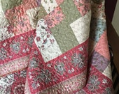 Lap Quilt - Patchwork Quilt - Romantic Floral - Cottage Chic - Country Farmhouse - Sofa Throw - Gift for her - homemade quilt- one of a kind