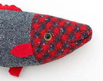 Red and Gray texured wool fish pillow doll cabin ocean decor
