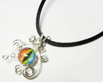 Wire Wrap Handmade Rainbow Glass Evil Dragon Eye Pendant with Necklace