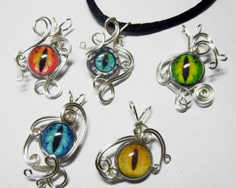 Wholesale Lot -  5 Small Wire Wrap Pendants - Dragon Eyes, Zombie Eyes, Bassnectar You pick design