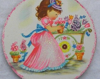 Girl Flower Cart Potted Tulips Glittered Wood Easter Ornament Vintage Greeting Card