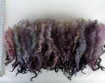 0.9oz, British BFL wool locks, curls, doll hair, felting wool, felting fiber, spinning fiber, purple, green, black, bluefaced leicester, 25g