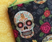 Day of the dead skull pouch, coin purse, change purse, small zipper pouch