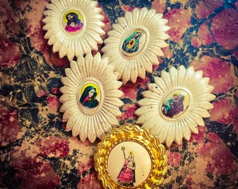 1pc VINTAGE CATHOLIC PINS Sacred Heart Jesus Mary Anthony Our Lady