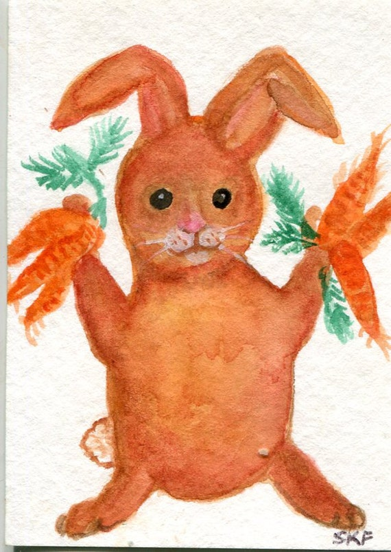ACEO Original  Watercolor Painting Brown Bunny with Carrots, SharonFosterArt