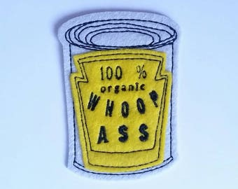 Small Iron on Patch Can of 100% organic Whoop Ass Applique in yellow - patches for trucker hats - sew on patch - back patch - gag gift