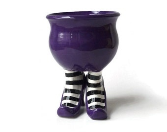 Ceramic Pot - Ceramic Sex Pot with High Heels and Striped Leggings - Dark Purple