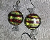 Christmas Candy Glass and Sterling Silver Earrings