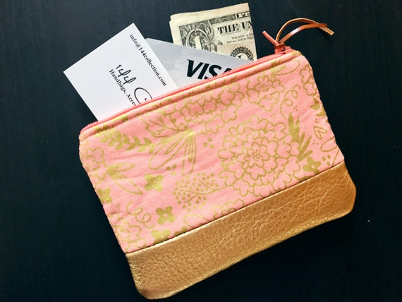 Floral Pink Metallic Gold Leather Pouch, Coin Purse, Zipper Pouch, Change Purse, Coin Wallet, Coin Pouch