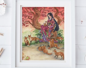 Kitsune art print, fox illustration, trees, woodland, wild animal, fox, fantasy art, Fox lover gift