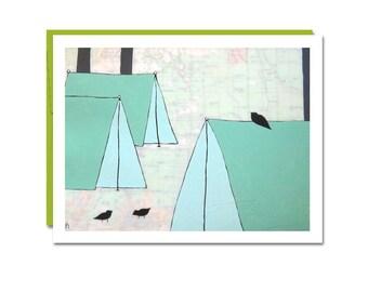 Shasta Map Notecard // Single Card // Map Art Card // Blank Card // Tent Card // Camping Card // Everyday Cards // Rachel Austin Card