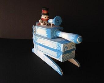 snowman king snowball tank handmade display