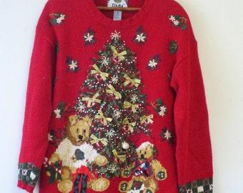 Vintage Festive Christmas Tree Red Teddy Bear Ugly Christmas Sweater
