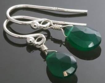 CLEARANCE. Green Onyx Earrings. Sterling Silver Ear Wires. Briolette Earrings. Lightweight Earrings. s13e031
