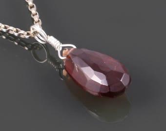 Red Garnet Necklace. Sterling Silver. Genuine Gemstone. January Birthstone. s17n006