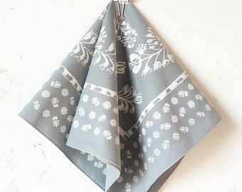Grey Floral Bandana, Hand Screen Printed and Soft