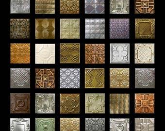 Metallic Patina No. 2 - 1x1 - Digital Collage Sheet - Instant Download