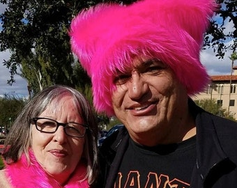 Hot Neon Pink Pussy faux fur Kitty hat - Pink Pussy hat - fleece lined dark  pink - Womens March Washington DC Jan 21