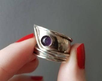Vintage sterling silver and amethyst modernist wrap ring size 7.75