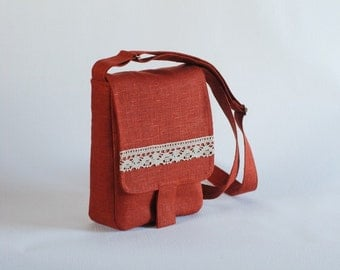Brick red linen messenger bag with laces