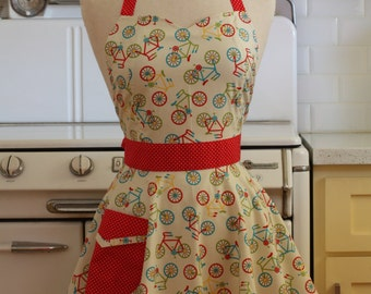 Retro Full Apron Sweetheart Neckline Bicycles - BELLA