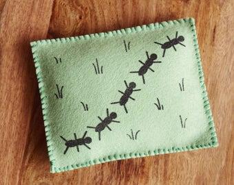 Felt Sewing Kit - ANTS Bean Bag - Original Screen Print Wool Beginner DIY