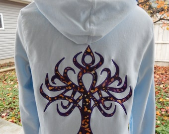 Upcycled Light Blue Zip Up Hoodie, Tree of Life, Womens Hoodie, Full Zip Hoodie, Celtic Hoodie,  Hippie clothes, boho chic Hoody,
