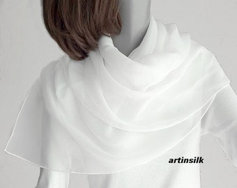 "White  Square Scarf Hand Hemmed  100% Silk Chiffon 10mm,  Made to Order 34"" x 34"" or 40"" x 40"", Artisan Handmade, Artinsilk."